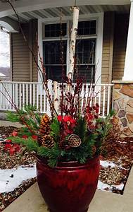 Rustic, Red, Outdoor, Winter, Pot, Container, Planter, With, Birch, Branches, Pine, Cones, Curly, Willow