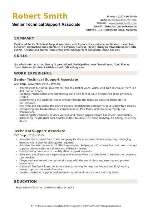 Technical Support Skills Resume by Technical Support Associate Resume Sles Qwikresume
