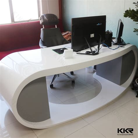 surface minimum bureau bureau blanc pur de corian de qualité faite sur commande