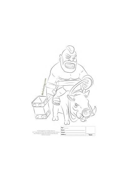 Clash Royale Coloring Clans Pages Hog Rider