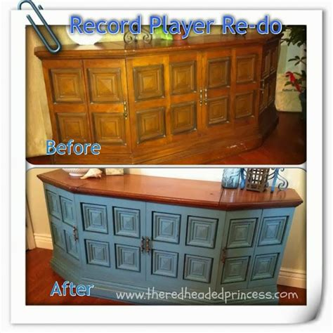 diy record player cabinet the redheaded princess homemade chalk paint record player
