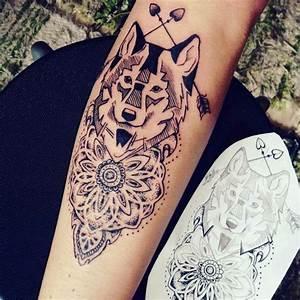 Tatouage Loup Graphique : tatouage loup mandala femme ~ Mglfilm.com Idées de Décoration