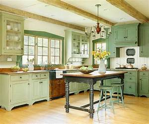 5 gorgeous green kitchens enpundit With best brand of paint for kitchen cabinets with wall art vintage