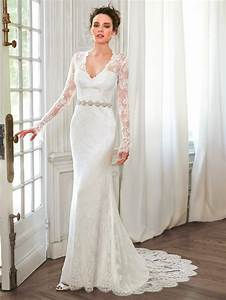v neck lace sexy long sleeve mermaid wedding dress 2016 With where to find long sleeve wedding dresses