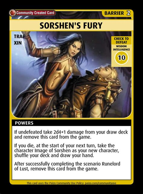sorshens fury custom card paizo pathfinder