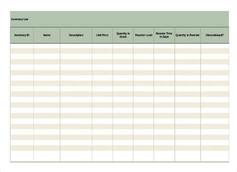 inventory list templates  sample