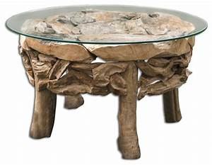 uttermost teak root round coffee table beach style With round coastal coffee table