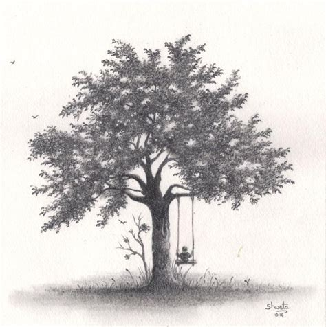 realistic apple tree drawing apple tree pencil drawing simple living tree in the