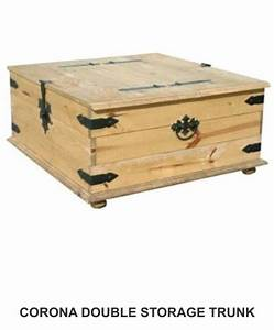 New mexican pine coffee table trunk double storage for for Pine coffee table with storage
