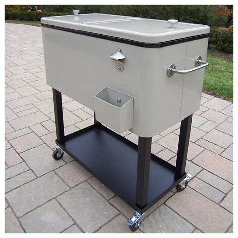 oakland living steel 80qt patio cooler with cart 90010