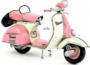 White-Pink Medium Scale Vintage Tinplate 1965 Vespa Model ...