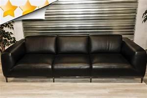 Canapé 4 Places Cuir : fixe canap 4 places cuir noir par attraction canap s ~ Teatrodelosmanantiales.com Idées de Décoration