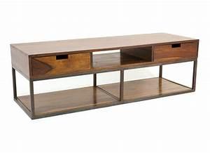 Meuble Tv Fer : meuble t l design industriel palissandre et fer crispy 5202 ~ Teatrodelosmanantiales.com Idées de Décoration