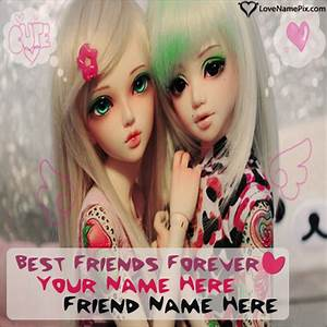 Write Name on Best Friends Cute Girls Picture