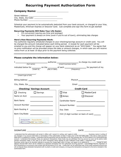 recurring payment authorization form template