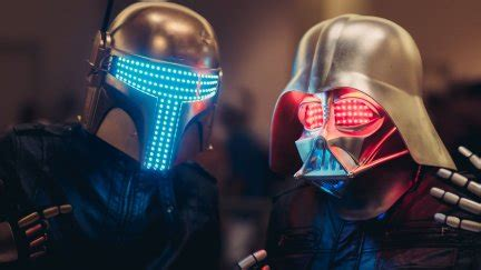 Boba Fett, Darth Vader, Star Wars, neon lights, digital ...