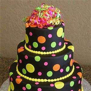 Neon cake Fondant cakes Pinterest
