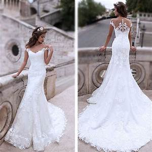 charming off shoulder sexy mermaid white lace bridal gown With off white lace wedding dresses