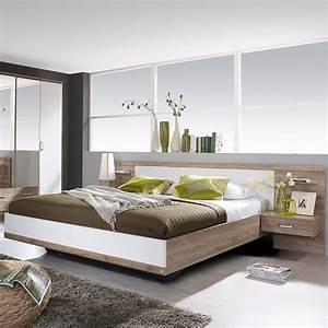 Tete De Lit Avec Tablette : lit en 160x200cm avec 2 chevets t te de lit maison et ~ Teatrodelosmanantiales.com Idées de Décoration