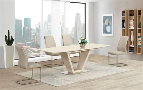 cream extending glass high gloss dining table   taupe