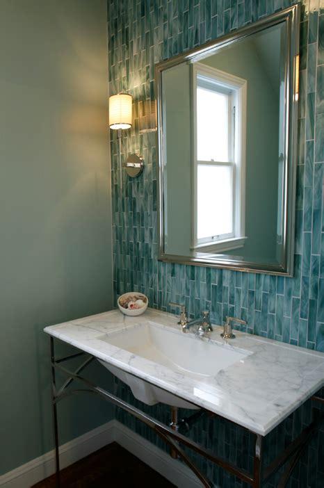 Green Bathroom Backsplash by Turquoise Blue Backsplash Contemporary Bathroom