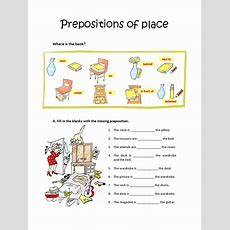 Prepositions Of Placeworksheet