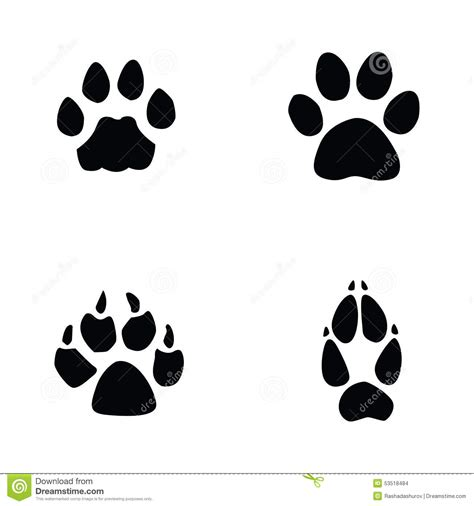Cat, Jaguar, Dog, Fox Footprint Stock Vector ...