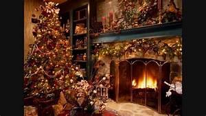 Christmas carols (instrumentals), fireplace sound ...