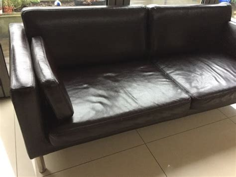 ikea faux leather sofa ikea faux leather sofa excellent condition for sale in