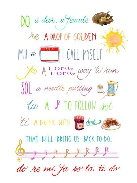 """Sol do la fa mi do re can. Do-Re-Me: Hand-Lettered Sound of Music Digital Download 12""""x16""""   Sound of music, Hand lettering ..."""