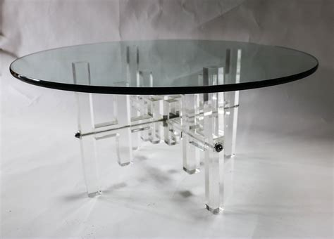 mid century  glass top coffee table lucite bass