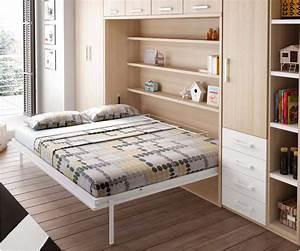 Lit Avec Armoire : chambre avec lit armoire escamotable horizontal glicerio so nuit ~ Teatrodelosmanantiales.com Idées de Décoration