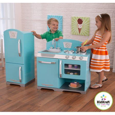 walmart play kitchen kidkraft blue retro wooden play kitchen and refrigerator