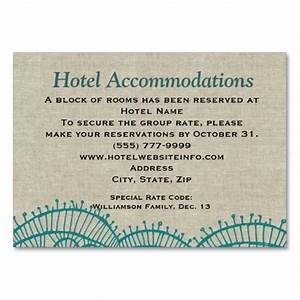 Linen teal lace hotel accommodation insert cards for Wedding invitation inserts hotel info