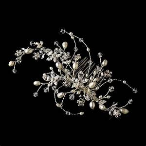 Rhinestone Pearl Floral Vine Bridal Hair Comb Elegant