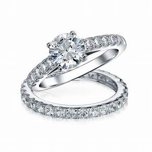 bridal cz solitaire engagement wedding ring set With engagement ring on wedding day