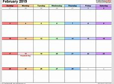 February 2019 Calendars for Word, Excel & PDF