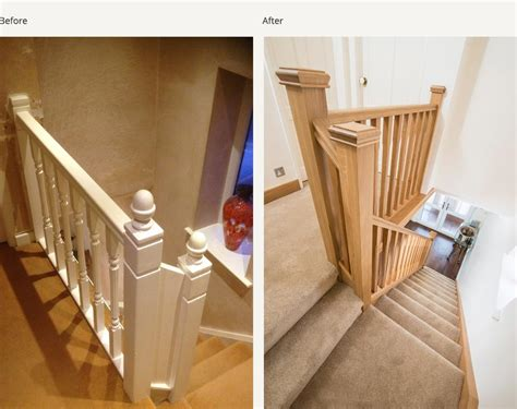 replacing stair spindles before and after glass and wood staircase renovations 1881