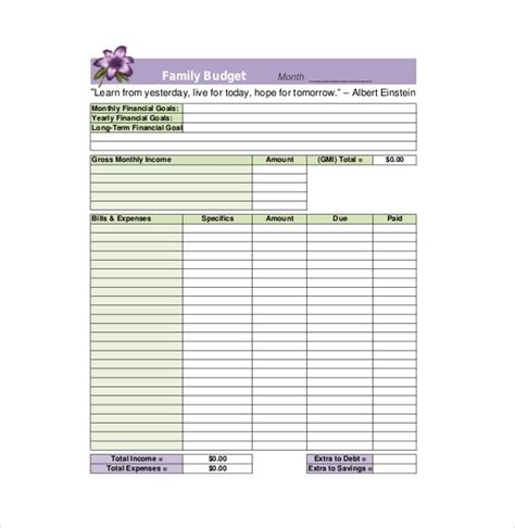 Family Budget Template Sle Family Budget Form Driverlayer Search Engine