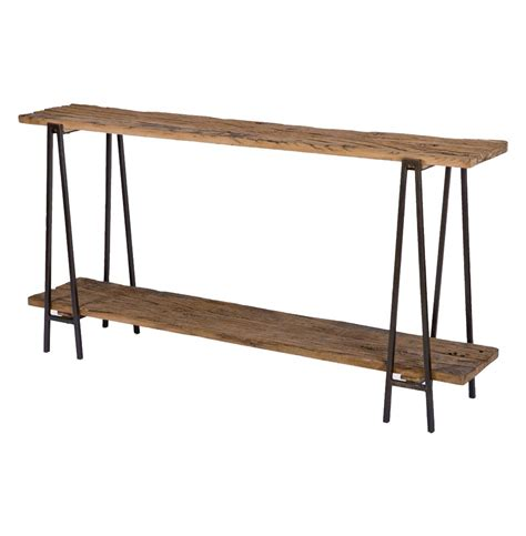 wood metal console table bartlett rustic lodge wood metal rectangle console table