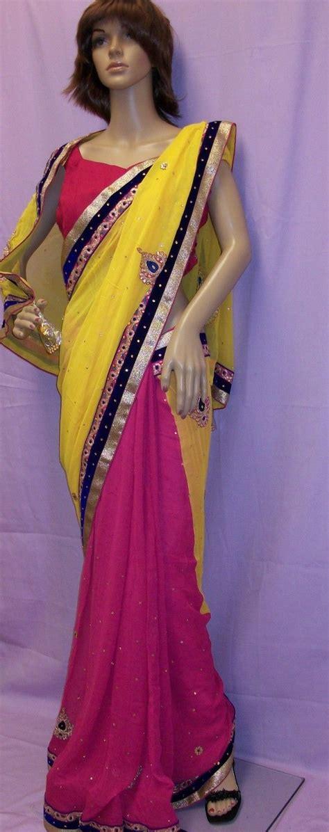 yellow pink chiffon half half wear saree w blouse 24989 buy desiclik usa