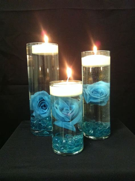 turquoise and floating candles centerpieces