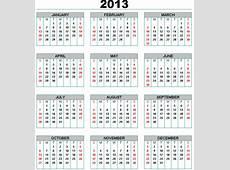 Selección Calendarios Argentina 2013 Fines de semana