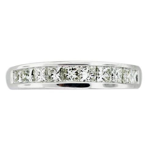 white gold invisible set princess cut diamond wedding band