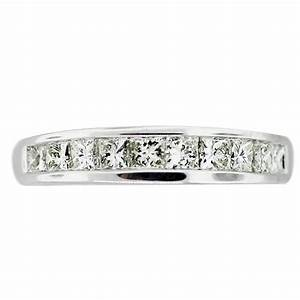 white gold invisible set princess cut diamond wedding band With princess diamond cut wedding rings