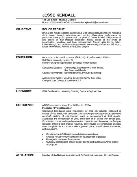 How To Write A Enforcement Resume by Officer Resume Sle Objective Http Www