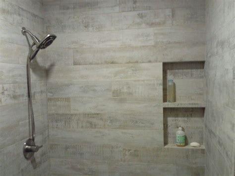porcelain wood planks  shower wniche   tile