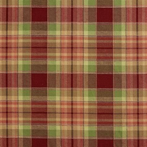 plaid upholstery fabric burgundy green and coral cabin look plaid damask