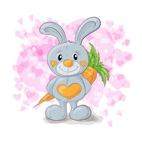 Lindo conejito con corazones de dibujos animados Vector