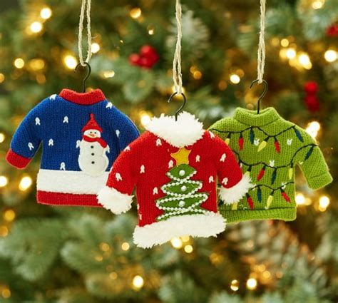 Ugly Sweater Ornaments, Set of 3   Pottery Barn